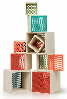 Note design studio at stockholm design week: 'peep' is a boxy storage system which has perforated walls, making them more transparent. Wood and perforated metal. Cube Furniture, Furniture Plans, Furniture Design, Furniture Online, Luxury Furniture, Note Design Studio, Notes Design, Stockholm Design, Etagere Cube