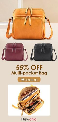 b92570c7ee0d Brenice Women Solid Multi-pockets Casual Faux Leather Crossbody Bag is  designer