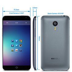 "MEIZU MX4 Unlocked Movil 4G Con Pantalla de 5.4"" Pulgadas IPS QHD Smartphone Flyme OS 4.0 (Android 4.4 MT6595) Octa Core 2.2GHz de 2GB + 32GB ROM Con Camara 20.0MP GPS WIFI OTG OTA E-Compass - Color Gris - T-Mobile [ Movistar ,Orange, Yoigo, Vodafone, O2, Simyo, Jazztel ] ES"