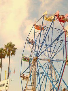 Engagement photos on the ferris wheel at Balboa