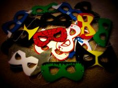 My Other Cup of Java: Nikhil's Super Hero BDay--masks using craft foam and t-shirt paint