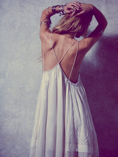 Free People Gemma's Limited Edition White Dress at Free People Clothing Boutique beach Bohemian Style, Boho Chic, Gypsy Style, Hippie Chic, Modern Hippie, Bohemian Gypsy, Hippie Style, Mode Boho, Black Evening Dresses