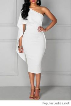White dress, cape style with sandals