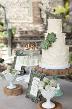 rustic woodsy wedding - olive green macaroons and a simple, elegant wedding cake.