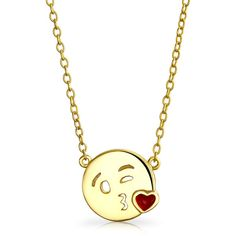 Gold Plated .925 Silver Kiss Face Emoji Pendant Necklace ($21) ❤ liked on Polyvore featuring jewelry, necklaces, necklaces pendants, silver necklace pendant, circle necklace pendant, pendant necklaces, gold plated pendants and circular pendant