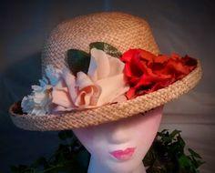 ON SALE Natural Straw Vintage Ladies Hat with Cream Peach