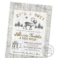 Rustic Deer Baby Shower Invitation, Burlap Deer Wood Background ...