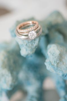 Mikkel Paige Photography photos of a wedding at Bay Head Yacht Club. The ring detail shot was photographed on blue coral to match their nautical theme.