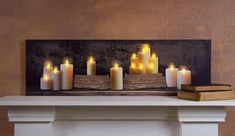 Mantle of Pillar Candles LED Light 20 X 6 inch Canvas Wall Hanging * Details can be found by clicking on the image.