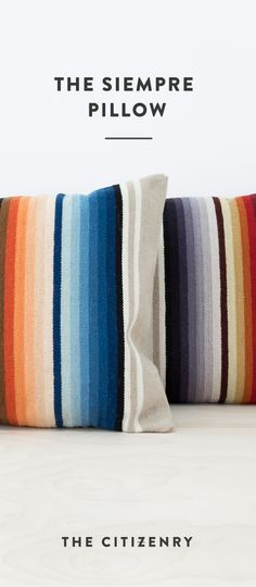 Master the art of color with this single pillow. Hand-loomed in an ombre stripe design, this minimal pattern lets all 28 of the bright hues take center stage.
