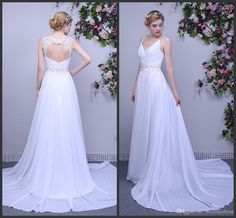 Open Back Wedding Dresses White Bridal Gowns Appliques Sequin Bling Formal Wear Backless Sexy Sweep Train Cheap V Neck Sleeveless Hot Halter Neck Wedding Dresses Pink Wedding Gowns From Lovemydress, $110.36| Dhgate.Com