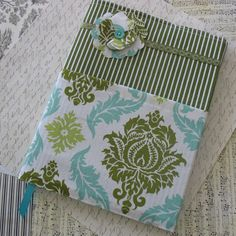 Green and Aqua Damask Composition Notebook Cover