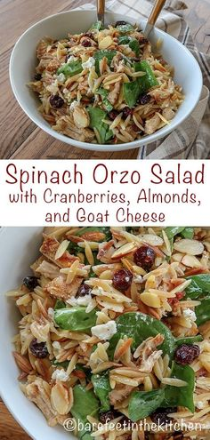 Spinach Pasta Salad with Cranberries, Almonds, and Goat Cheese is loaded with fl. - Foods I have to make - Tortellini Pasta Salad With Spinach, Orzo Salad Recipes, Soup And Salad, Orzo Spinach, Orzo Pasta Salads, Spinach Pasta Recipes, Spinach Salad Recipes, Healthy Cooking, Healthy Eating