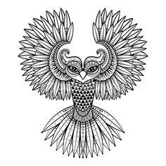Вектор декоративные совы, этническая zentangled талисман, Амулет, маска — стоковая иллюстрация #92374546
