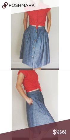 "Land's End Chambray Button Down Skirt Super comfortable cotton chambray skirt by Land's End with Button Down front, pockets, and belt loops. Great condition. 30"" waist, 23"" length. Lands' End Skirts"
