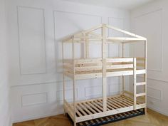 I hacked an IKEA kids' bed into playhouse bed for my two children. The bunk bed I started with the IKEA MYDAL. As a finishing touch, we signed off our playhouse bunk bed as Lacasadi Mommo. Ikea Bunk Bed Hack, Ikea Kids Bed, Murphy Bed Ikea, Kura Hack, Bunk Beds Small Room, Bunk Beds With Stairs, Kids Bunk Beds, Small Rooms, Mydal Ikea