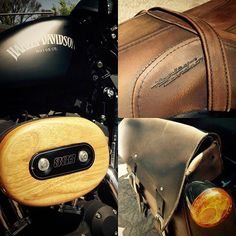 Maintenance plan: My 2012 looking better than ever. Hand-made air filter cover in Rubber and Burmese Teak. Re-positioned distressed leather swing-arm bag.