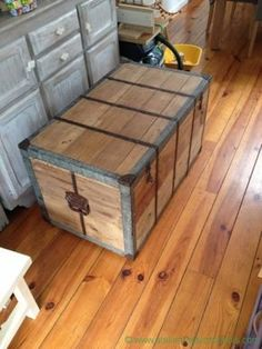 restore old wooden chest Source by Garage Furniture, Solid Wood Furniture, Rustic Furniture, Dark Wood Trim, White Wood Table, Wood Trunk, Wood Tile Floors, Diy Shops, Into The Woods