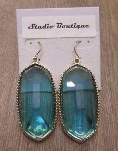 Designer Inspired Earrings Clear Teal Blue Gold Tone  Drop Dangle  Kendra