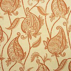 Lucinda Paisley Fabric - melon/burnt orange on cream - $25.99/yd