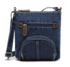 Denim and Zipper Design Crossbody Bag
