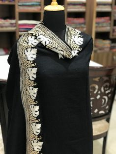 Black Pure Pashmina Shawl with Tilla Embroidery, Zari Embroidery, Kashmir Work, Cashmere Shawl, Brid Kashmiri Suits, Embroidery Suits Punjabi, Wedges Outfit, Velvet Shawl, Derby Dress, Indian Party Wear, Bridal Lehenga Choli, Cashmere Shawl, Indian Textiles