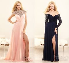 1. Beautiful peachy-pink mother of the bride dress 2014  2. Long navy blue off the shoulders dress for mother of the bride