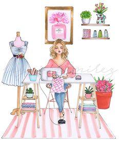 ideas fashion logo illustration art prints for 2019 Arte Fashion, Fashion Wall Art, Fashion Prints, Fashion Bedroom, Women's Fashion, Art And Illustration, Illustration Fashion, Sewing Art, Sewing Rooms