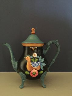 Silver Teapot with Folk Bird and Flowers by Georgannself on Etsy