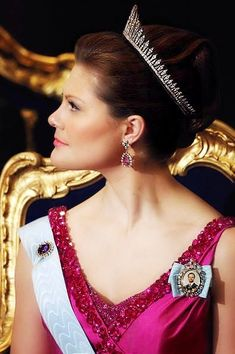European Monarchies:  Crown Princess Victoria, wearing the Baden Fringe Tiara, at the Nobel Ceremony 2008