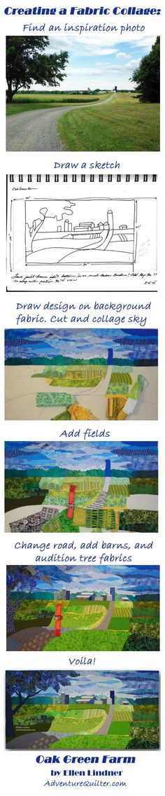 Love how this quilter makes art from a photo, would not have to be a landscape.If I get around to sewing in this way, it would be much simpler at first! Quilting is such a great art form.