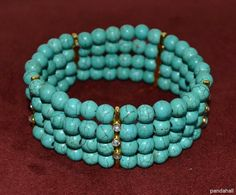 Turquoise beads bangle made by Diana Cardero from LC.Pandahall.com