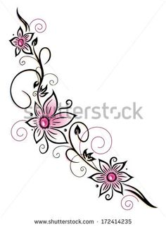 tribal lotus flower and butterfly  tattoos | Colorful flower decoration, tribal and tattoo style - stock vector