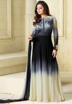 Drashti Dhami Shaded Black and Cream #Anarkali Suit