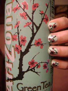Arizona Green Tea blossom inspired nails...too cute! <3