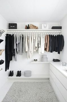 Spacious closet with built-in drawers