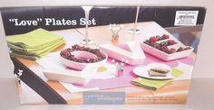 "Simply Better Weddingstar 7 1/2"" LOVE Set Candy Snack Dishes - Set of 4 Ceramic 68180045525   eBay"