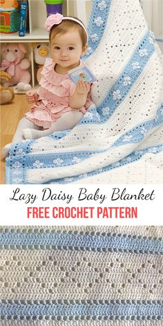 [Cozy] Lazy Daisy Baby Blanket Crochet Pattern | Patterns Valley