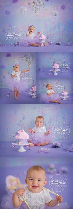 A's Purple and Silver First Birthday Cake Smash! | Heidi Hope Photography