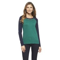 Embellished Crew Neck Pullover Sweater Green XXL - Merona
