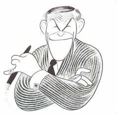 George Burns by Al Hirschfeld, caricature cartoon portrait drawing face stylized