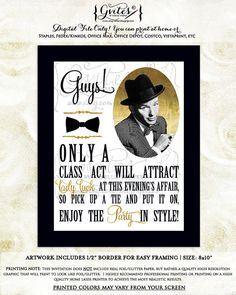 Frank Sinatra rat pack printable party signs old by Gvites on Etsy