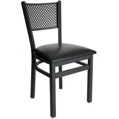 Polk Black Metal Perforated Back Restaurant Chair with Padded Seat - These attractive Polk black metal perforated back restaurant chairs with padded seat from BFM Seating are built to last with sturdy, sand black metal frames and backs. Offered at a very competitive price, these black metal restaurant chairs are available with multiple vinyl padded restaurant chair seat colors for a modern look to meet your facility's commercial restaurant chair needs.  [2161C-SBV]