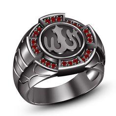 Men's Red Garnet 14k Black Gold Plated 925 Silver Muslim Allah Men's Ring 7 8 9 #Silvergemsjewelry #AllahRing
