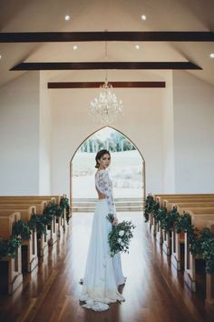 church wedding decorations aisle decorated with greenery bride in lace dress with bouquet ivy road photography Perfect Wedding, Dream Wedding, Wedding Day, Wedding Church, Chapel Wedding, Trendy Wedding, Wedding Summer, Church Wedding Decorations Aisle, Garden Wedding