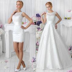 2016 Romantic White Two Pieces A Line Lace Wedding Dresses With Detachable Skirt Vestidos De Noiva Spring Crew Neck Short Dance Bridal Gowns Aline Wedding Dresses Anthropologie Wedding Dresses From Bestdeals, $160.88| Dhgate.Com