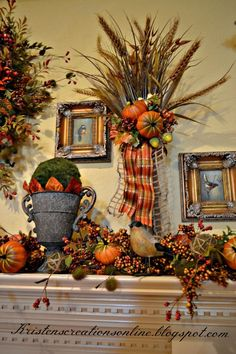 I made the wreath using pumpkins, sunflowers, berries and foliage. I added a berry garland and poked in some moss balls and pumpkins. I had the bird pictures on… Elegant Fall Decor, Fall Home Decor, Holiday Decor, Autumn Decorating, Decorating Ideas, Decor Ideas, Fall Arrangements, Thanksgiving Decorations, Fall Decorations