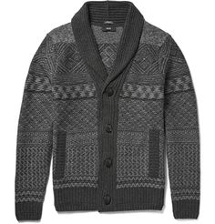 Hugo Boss - Shawl-Collar Fair Isle Wool and Cashmere-Blend Cardigan|MR PORTER -- would love this in a brown/tan/taupe combo