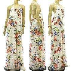 New Summer Elegant Boho Chiffon Maxi Dress Backless Belt Floral Print Halter Tie