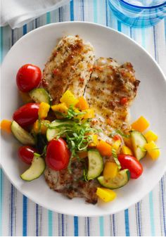 Fast Fish Skillet – Pesto, peppers and grape tomatoes add color and additional flavor to tilapia fillets in this delicious (and better-for-you) Fast Fish Skillet.